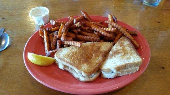 Port Hole Cafe: Crab Melt with Sweet Potato Fries!