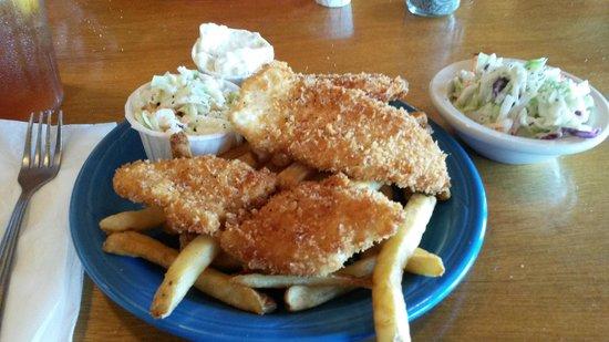 Port Hole Cafe: Halibut & Chips with Cole Slaw.