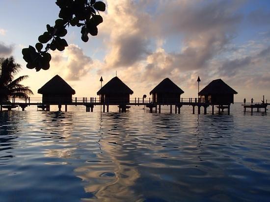 Manava Beach Resort & Spa - Moorea: Photo dans la piscine de l'hôtel durant le coucher du soleil