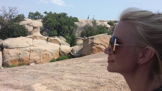 Full Moon Inn: My beauty contemplating the beauty of Enchanted Rock