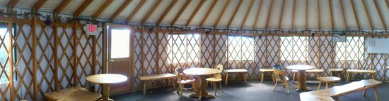 Trapp Family Lodge: Interior of the yurt behind the shop and near the meadow area