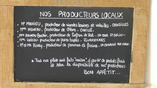 Restaurant Coté Cour : local producers