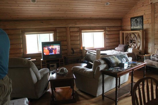 Robson Valley Chalet: Main room is combination kitchen, dining, family and bedroom.