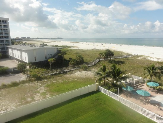 Sunset Vistas Beachfront Suites: Partial gulf view from balcony