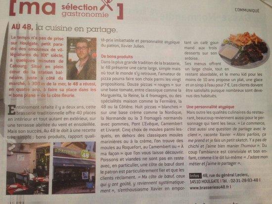 Brasserie - Pizzeria Au 48 : Article dans l express