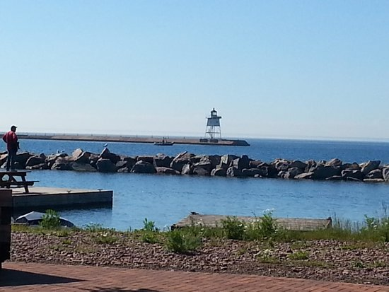 view of marina from the campground - Picture of Grand Marais