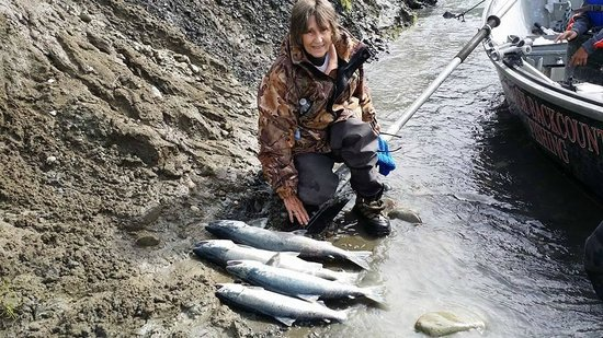 Chugach Backcountry Fishing - Day Trips: My Aunt with the day's catch