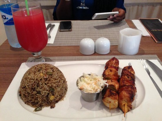 Tulip bistro: Skewered chicken and oriental rice with coleslaw