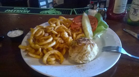Dock Street Bar & Grill : Almost a perfect example of a medium crab cake - only wish it were jumbo
