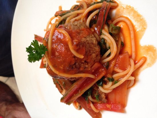 Mama's Meatball: Pasta of the Day:  Spaghetti with Chard and Added Meatball