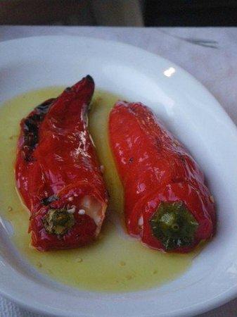 Tzivaeri Taverna: peppers stuffed with feta - yummy!