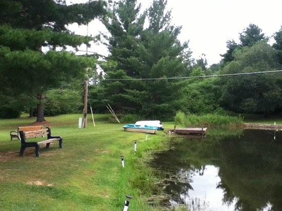 Colton Point Motel: Pond, paddle boats,swimming and fishing area behind the motel