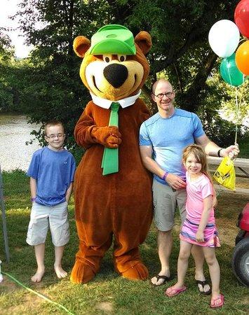 Yogi Bear's Jellystone Park at Natural Bridge: Yogi Bear delivering a birthday surprise