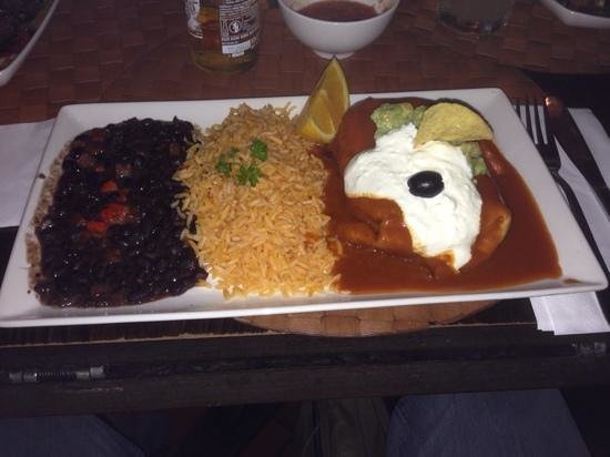 Cafe Pacifico : chimichanga with rice and beans