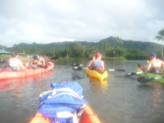 Wailua Kayak Adventures : Our group kayaking out