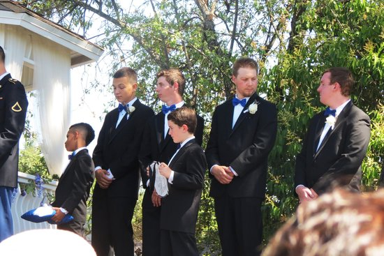 "Power's Mansion Inn: the handsome groomsmen, ring bearer and ""here comes the bride"" sign boy"