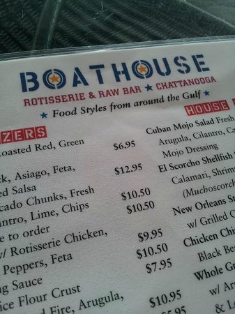 Boathouse Rotisserie & Raw Bar : Menu