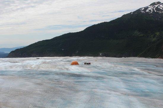 Mendenhall Glacier Visitor Center: View of helicopter base on Mendenhall Glacier