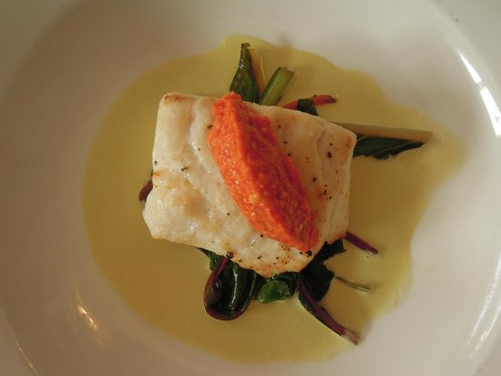 The Maltsters Arms: Hake in asparagus cream, with romesco