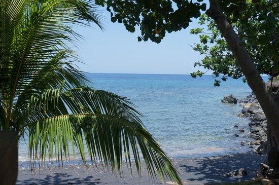 Paradise Bungalows Bali : пляж с черным вулканическим песком