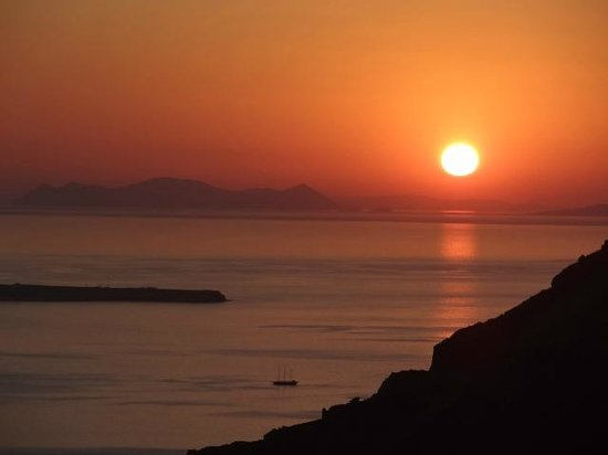 Santorini View: Sunset from our balcony
