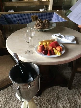 Tabacon Thermal Resort & Spa: Upon arrival, fresh fruit and prosecco...