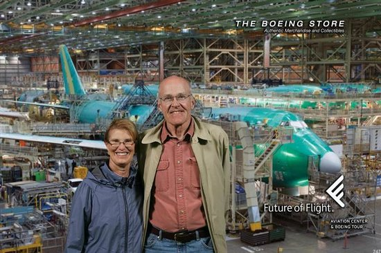 """Future of Flight Aviation Center & Boeing Tour: Free photo """"photo shopped"""" by Boeing to make it look like we were in the plant when it was taken"""