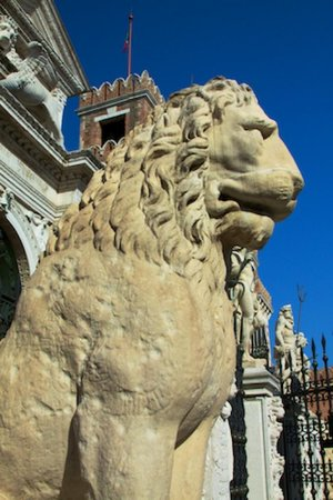 Naval History Museum Venice: Runes on shoulder of one of the Lions at the Arsenale