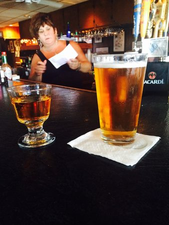 J's Oyster: Sandy, a beer and J's heavy pour for a shot