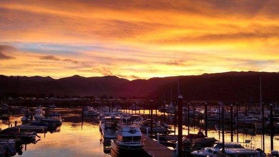 Harborview Inn & RV Park: Sunrise over the Harbor visible from Harbor side rooms