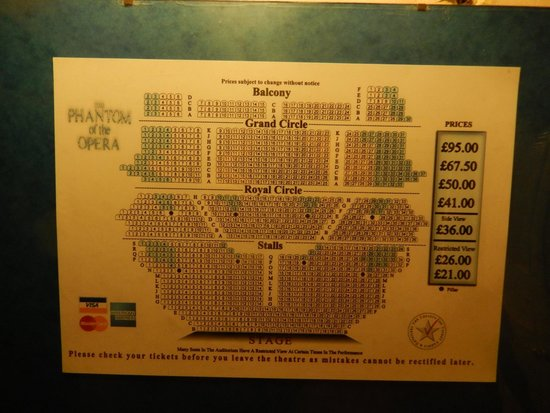 Phantom of The Opera London : Seating plan