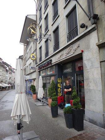 Hotel du Faucon: Exterior of the Faucon along the popular Rue de Lausanne