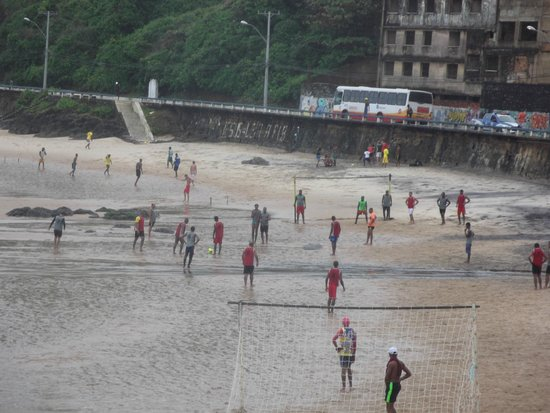 Fernando Bingre-Salvador Tour Guide: One of many continuous soccer games on the beach.