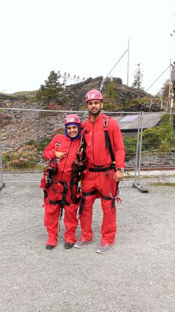 Llechwedd Slate Caverns: Dressed up for the Zip wire