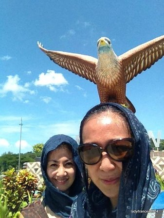 Dataran Lang: many people taking photos with the eagle so better be quick