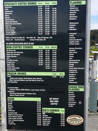 Harborside Fly by: Drive-through menu board