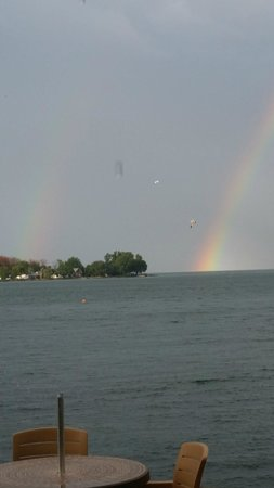 BayShore Resort: Double rainbow taken from the lakeside tiki bar
