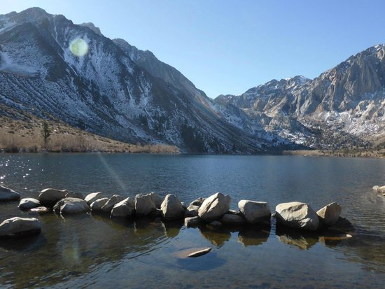 Convict Lake: When you get to lake turn left & Drive across the outlet and to the end of the road.