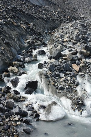 Columbia Ice Field : Love the Water Falls all around Us !!!  :D