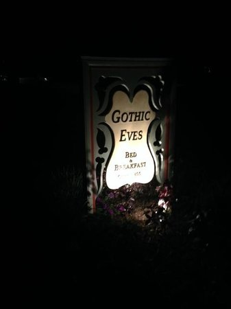 The Inn at Gothic Eves: Sign at night