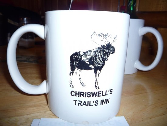 Chriswell's Trails Inn : Coffee mug with good coffee, free refills.