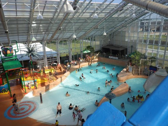 View of the main wave pool from the waterslides picture for Pool spa show niagara falls