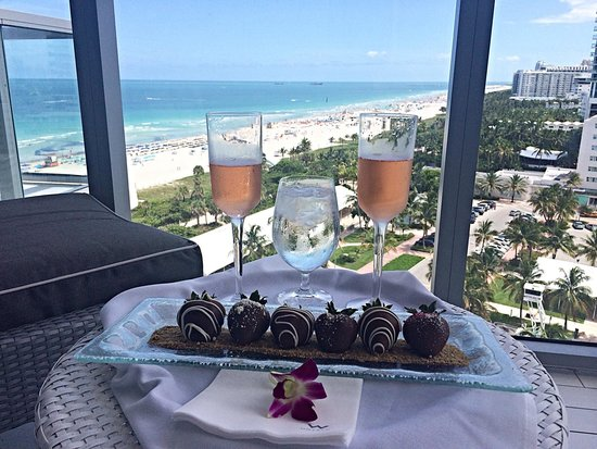 W South Beach: Chocolate covered strawberries delivered via room service along with champagne moscato bought at