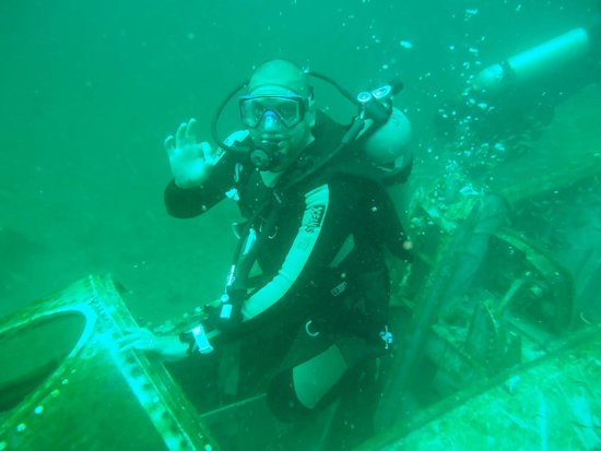 Diver's Den: Picture in cock pit of sunk aircraft