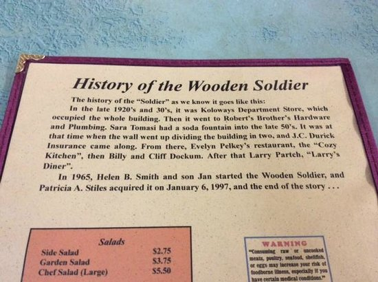 The Wooden Soldier: Menu