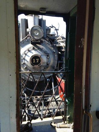 Mt. Rainier Scenic Railroad: Peeking out door of forward car at back of engine