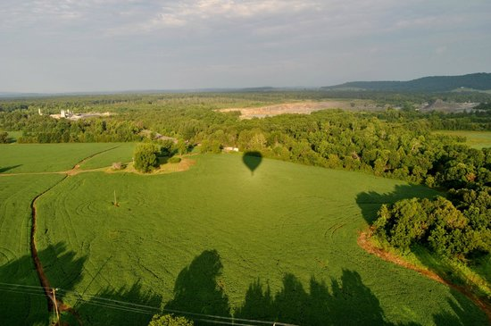 Monticello Country Ballooning: Our balloon, casting a shadow on the Virginia fields...