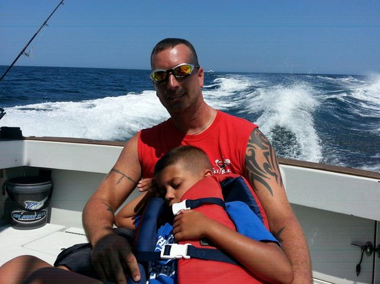 Beach Runner Charters: My little man was worn out after a busy day of fishing.