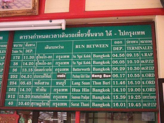 Hua Hin Railway Station: 時刻表