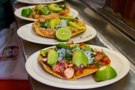 Eat Mexico Culinary Tours: Seafood tostadas - fresh, zingy, delicious!